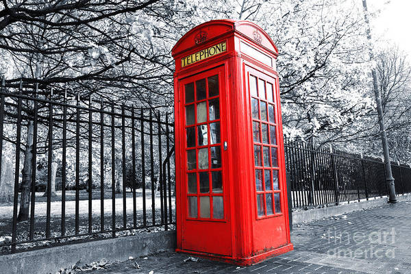 Pay Photograph - London Phone Box by MGL Meiklejohn Graphics Licensing