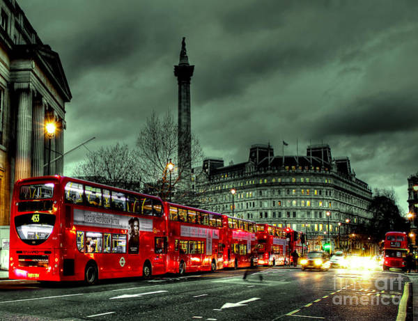 Columns Photograph - London Red Buses And Routemaster by Jasna Buncic