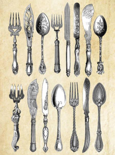 Fork Digital Art - London Silverware  1851 by Daniel Hagerman