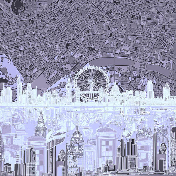 Westminster Painting - London Skyline Abstract 10 by Bekim M