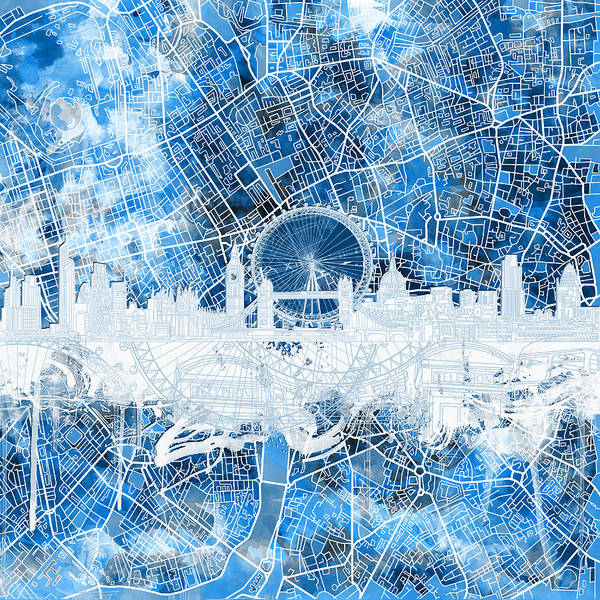 Westminster Painting - London Skyline Abstract 13 by Bekim M