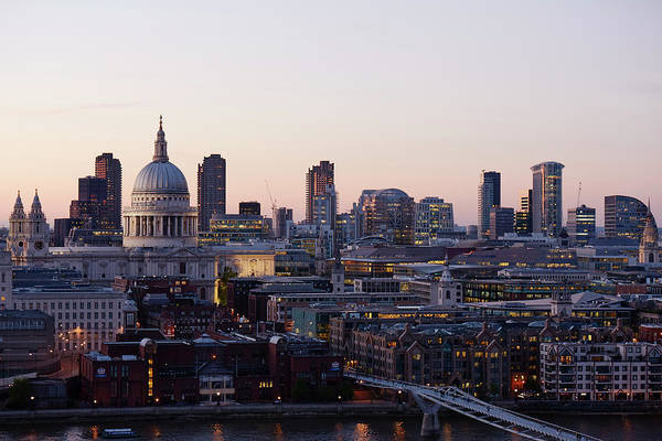 St Michaels Church Photograph - London Skyline And Landmarks At Night by Michael Blann