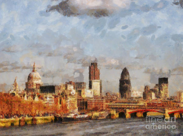 Houses Of Parliament Wall Art - Painting - London Skyline From The River  by Pixel Chimp