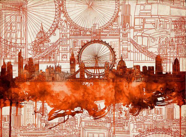 Westminster Painting - London Skyline Old Vintage 2 by Bekim M