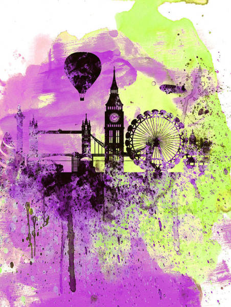 Wall Art - Painting - London Skyline Watercolor 1 by Naxart Studio
