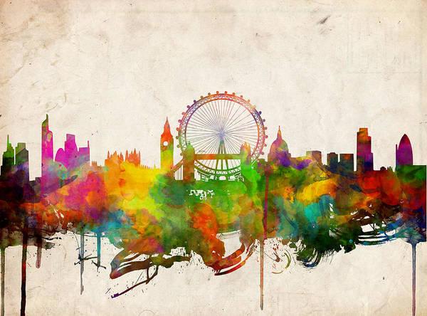 Westminster Painting - London Skyline Watercolor 2 by Bekim M