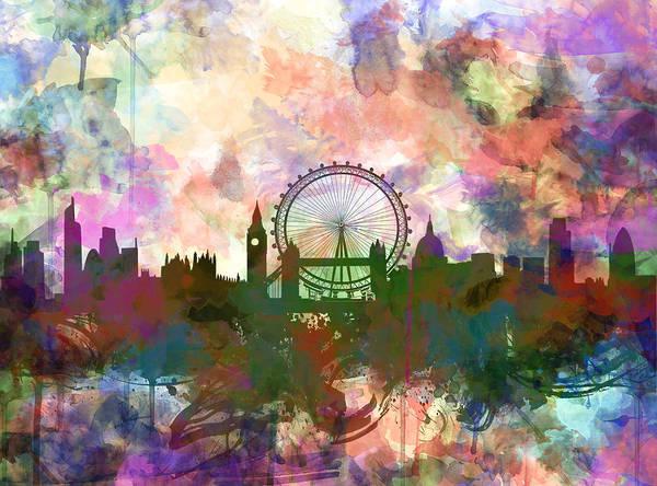 Westminster Painting - London Skyline Watercolor by Bekim M