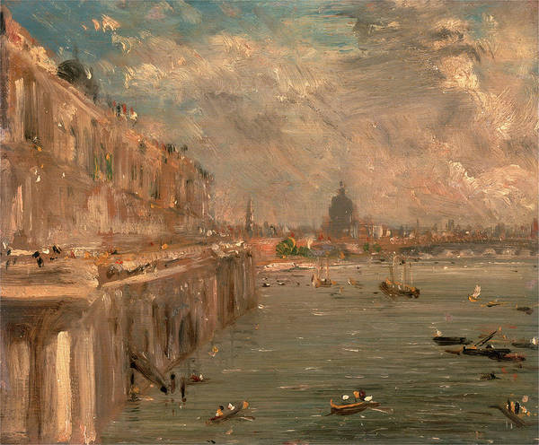 Riverbank Drawing - London, Somerset House Terrace From Waterloo Bridge by Litz Collection