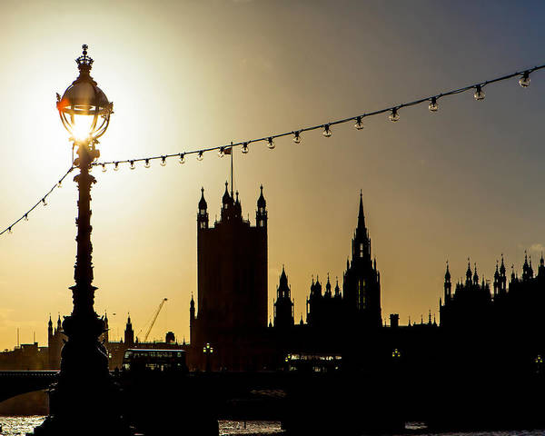 United Kingdom Photograph - London South Bank Silhouette by Susan Schmitz