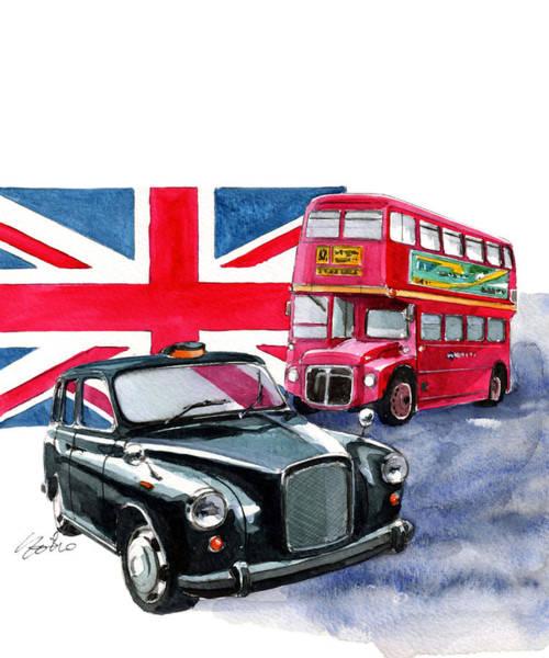 Taxi Painting - London Taxi And London Bus by Yoshiharu Miyakawa