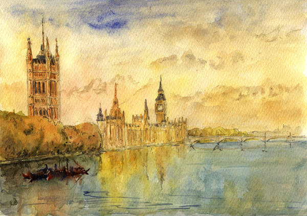 United Kingdom Painting - London Thames River by Juan  Bosco