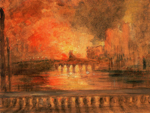 Wall Art - Drawing - London, The Burning Of The Houses Of Parliament Fire by Litz Collection