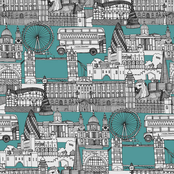 Wall Art - Drawing - London Toile Blue by MGL Meiklejohn Graphics Licensing