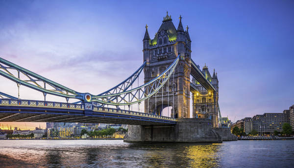 London Tower Bridge Illuminated At Sunset Over River Thames Panorama Art Print by fotoVoyager