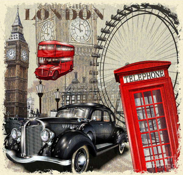 Vehicles Wall Art - Digital Art - London Vintage Poster by Axpop