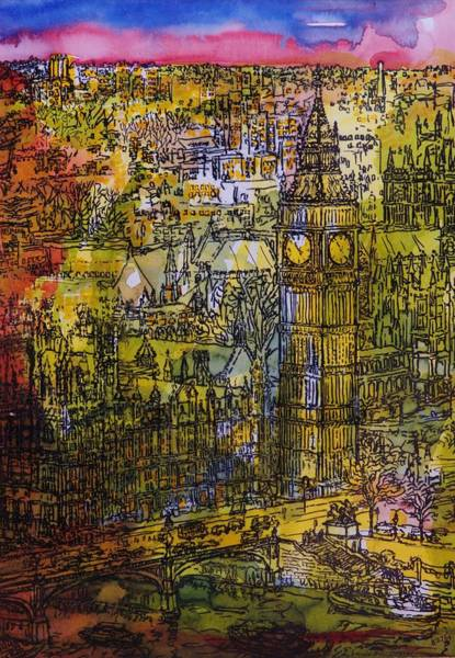 London, Westminster Pen & Ink With Wc On Paper Art Print