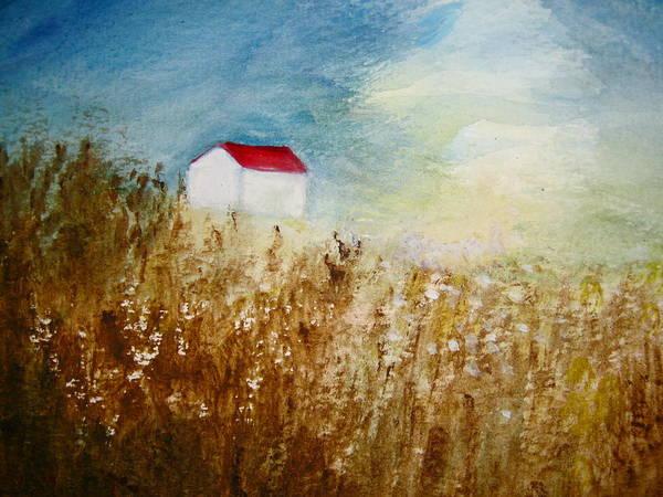 Barley Painting - Lone Barn by Jean Tatton Jones