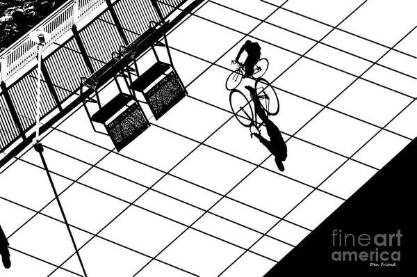 Photograph - Lone Bicycle Rider With Shadow by Dan Friend