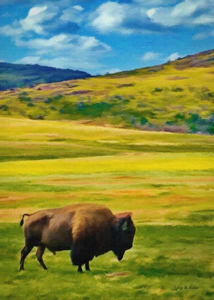 Wall Art - Painting - Lone Buffalo by Jeffrey Kolker