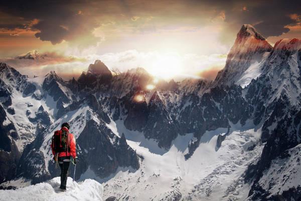 Chamonix Wall Art - Photograph - Lone Climber Watching A Mountain Sunset by Buena Vista Images