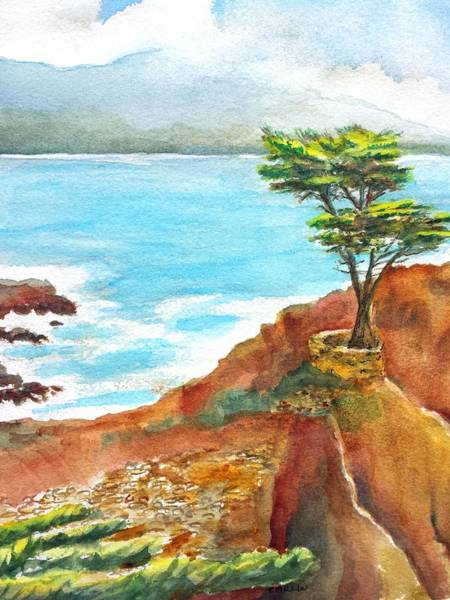 Lone Tree Painting - Lone Cypress California by Carlin Blahnik CarlinArtWatercolor