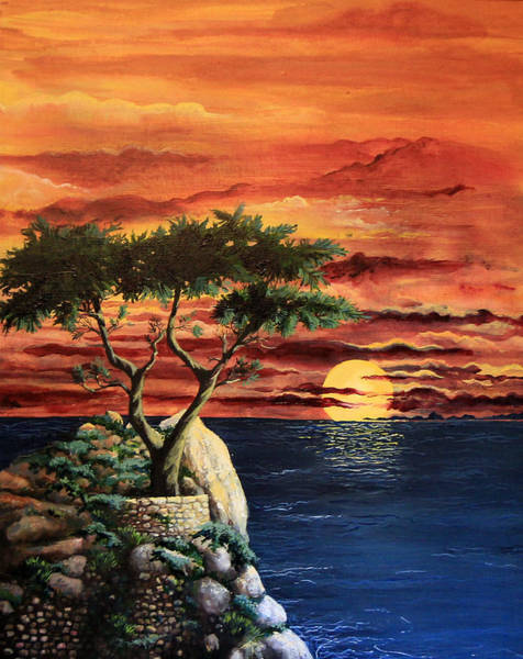 Painting - Lone Cypress by Mary Palmer