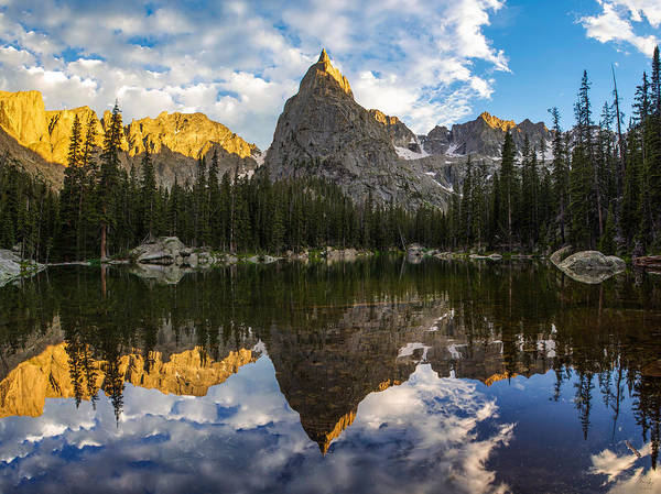 Roosevelt National Forest Photograph - Lone Eagle Peak And Mirror Lake by Aaron Spong