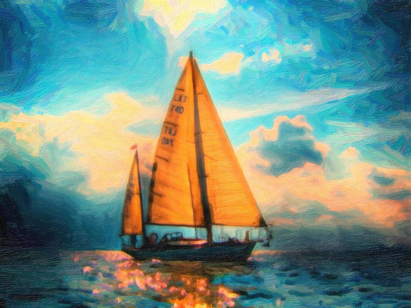 Lone Star Painting - Lone Star In Hazy Ocean Art by MotionAge Designs
