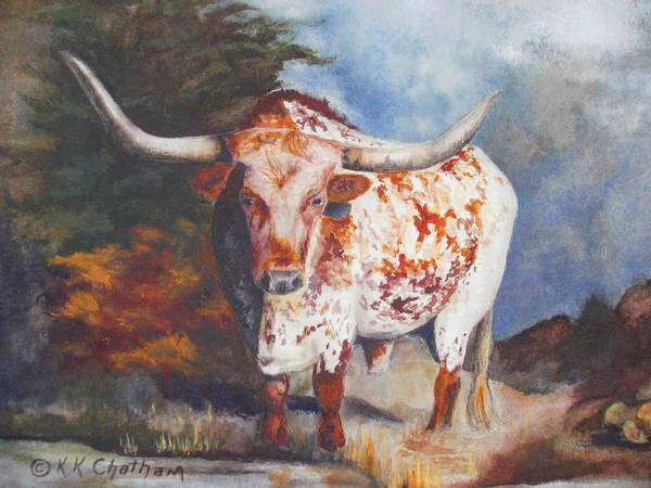 Wall Art - Painting - Lone Star Longhorn by Karen Kennedy Chatham