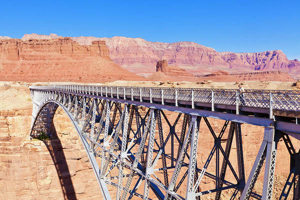 Physical Features Wall Art - Photograph - Lone Tourist On Old Navajo Bridge Over by Neale Clark / Robertharding