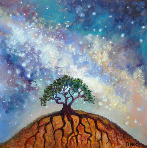 Lone Star Painting - Lone Tree And Milky Way by Cedar Lee