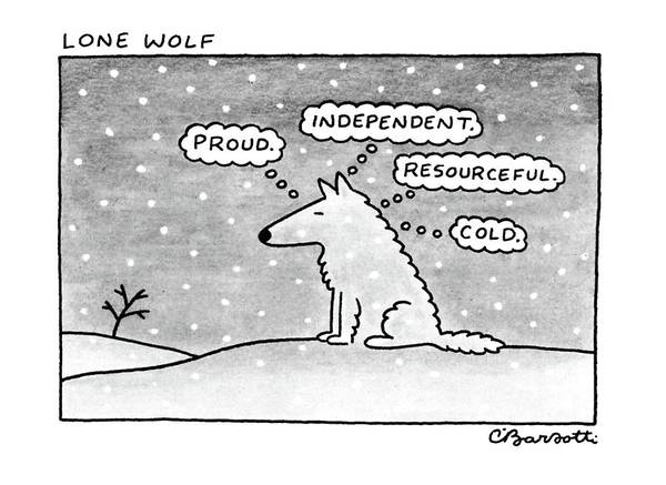 Psychology Drawing - Lone Wolf: by Charles Barsotti