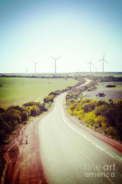 Wind Farm Photograph - Lonely Country Road And Wind Farm Western Australia by Colin and Linda McKie