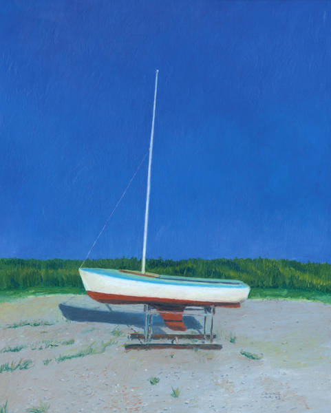 Drawing - Lonely Sailboat by Dominic White
