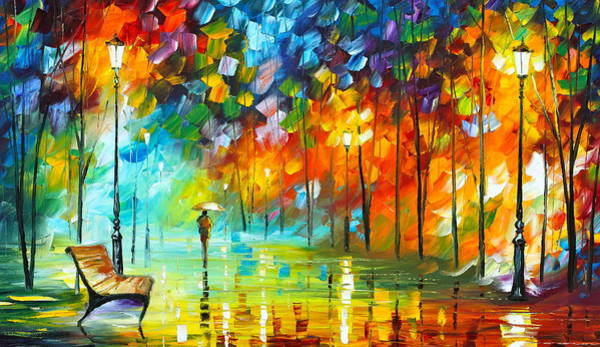Bench Painting - Lonely Stroll 3 by Leonid Afremov