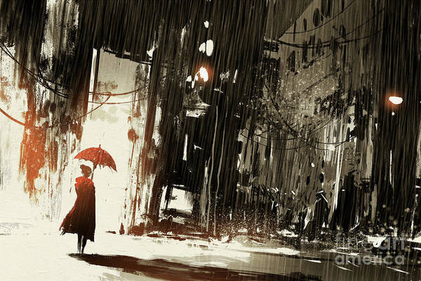 Buildings Digital Art - Lonely Woman With Umbrella In Abandoned by Tithi Luadthong
