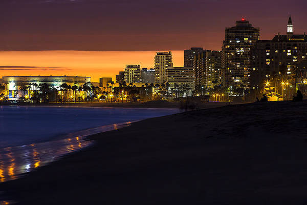 Long Beach Comes Alive At Dusk By Denise Dube Art Print