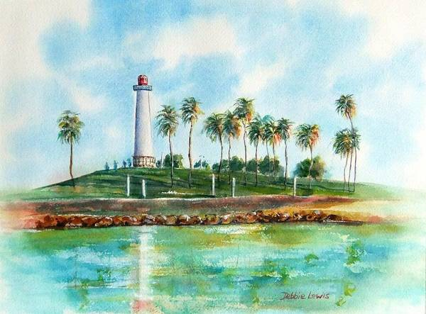 Painting - Long Beach Lighthouse  Version 2 by Debbie Lewis
