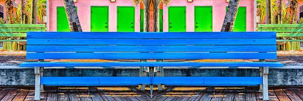 Photograph - Long Blue Bench by Robert FERD Frank