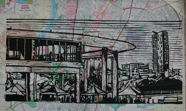 Drawing - Long Center On Map by William Cauthern