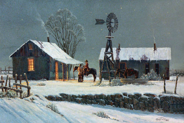 Snow Scene Painting - Long Day's End by Randy Follis