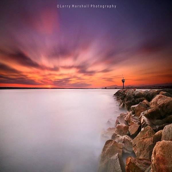 Long Exposure Sunset Shot At A Rock Art Print by Larry Marshall