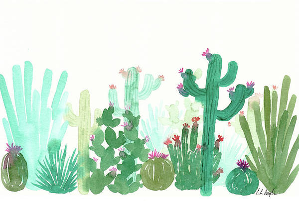 Wall Art - Painting - Long Green Cactus Landscape by Elise Engh