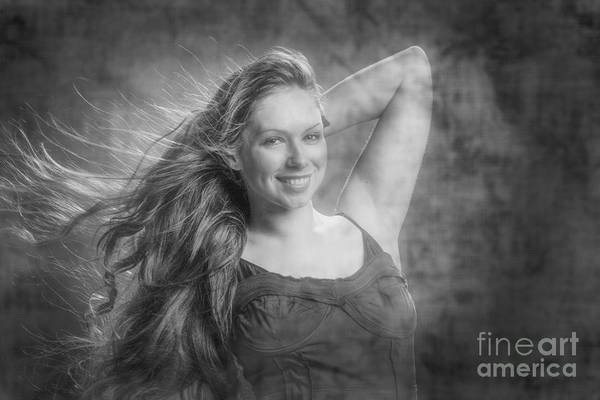 Photograph - Long Hair Red Haded Woman by M K Miller