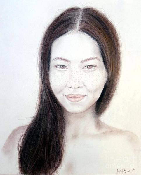 Freckle Drawing - Long Haired Natural Asian Beauty by Jim Fitzpatrick