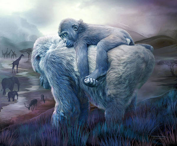 Mixed Media - Silverback Gorilla - Long Journey Home by Carol Cavalaris