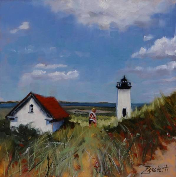 Sky Line Painting - Long Point Lighthouse by Laura Lee Zanghetti