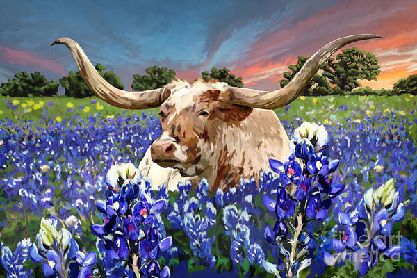Longhorns Wall Art - Painting - Longhorn In Bluebonnets by Tim Gilliland