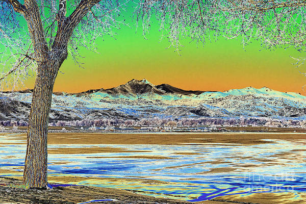 Photograph - Longs Peak Winter Landscape Solarized by James BO Insogna
