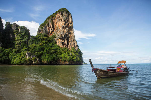 Wall Art - Photograph - Longtail Boat Near Railay Beach, Krabi by Steele Burrow